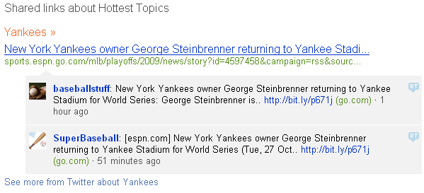Bing Twitter Search for the Yankees.