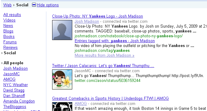 Google Social Search for Yankees