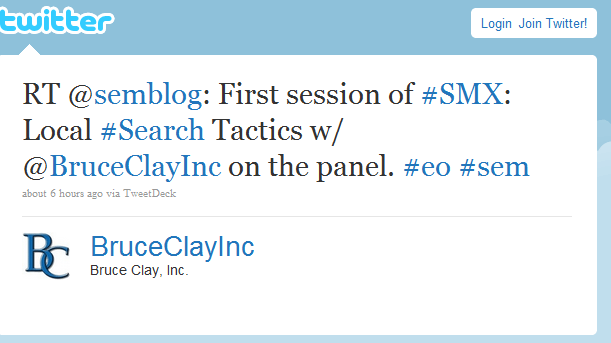 Bruce Clay Inc. Retweets the Schipul SEM blog