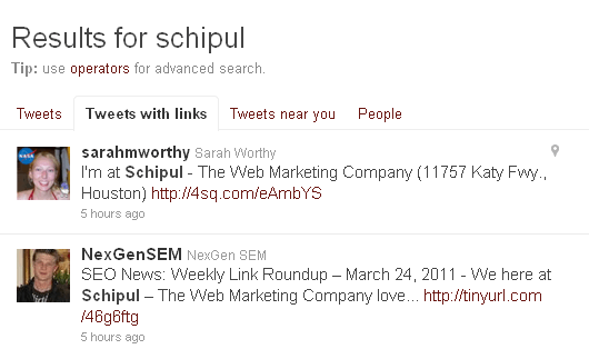 "Twitter.com Search results, with tab for ""Tweets with Links"""