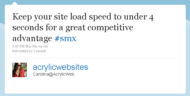 Tweet on Site Speed affecting SEO