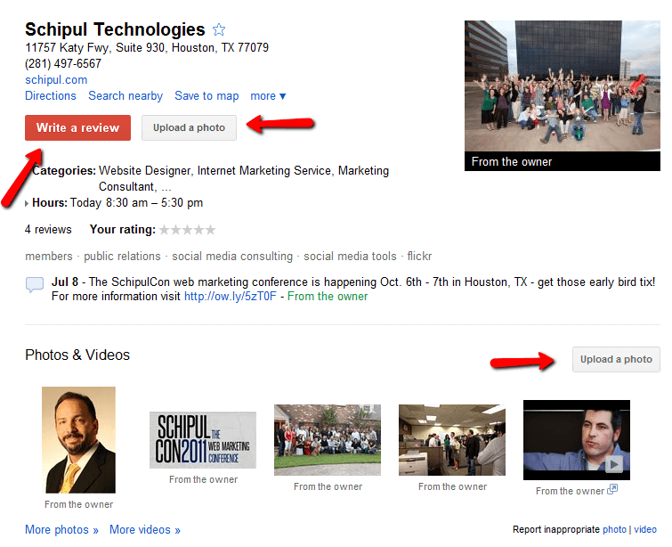 Schipul Google Places listing
