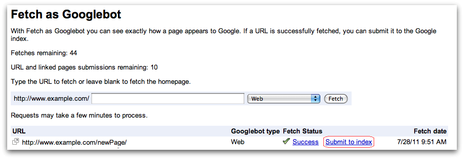 Submit to Google Index