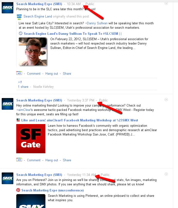 Gogle Plus Fresh Content Example