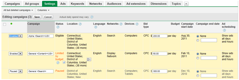 Copy PPC campaign setting in Adwords UI