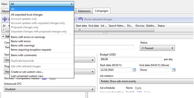 Custom View in Adwords Editor
