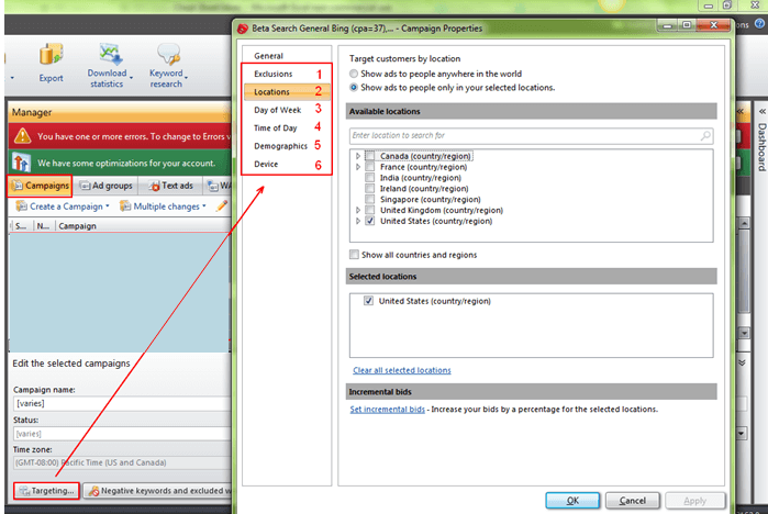 Change_Target_Settings_in_Microsoft_adCenter_Editor