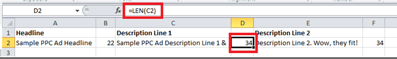 Length Formula Example - Excel