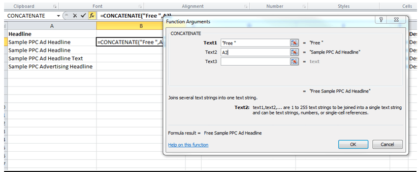 Concatenate Feature for Excel