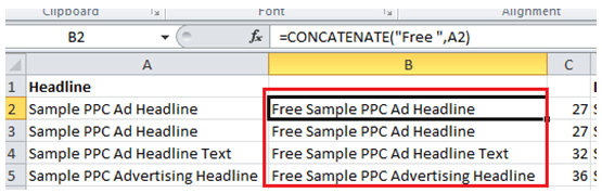 Concatenate Example - Excel