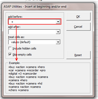 Insert before and/or after each cell in your selection example