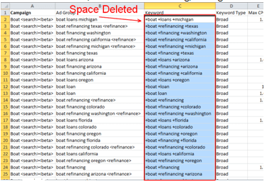 Delete leading, trailing and excessive spaces