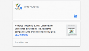 Google Posts added to Learn More about announcement of award