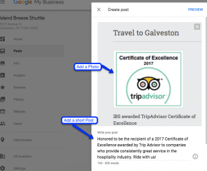 Preview Google Posts in Business Listing
